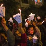 6 décembre 2014 : Procession mariale  dans le cadre du jumelage des diocèses de Lyon et de Mossoul. Cathédrale Saint Joseph, Ankawa (Ainkawa), banlieue assyrienne d'Erbil, Région autonome du Kurdistan, Irak.  December 6, 2014: Christian procession in the street of Ankawa (a.k.a. Ainkawa) Assyrian suburb of Erbil, KRG, Iraq.
